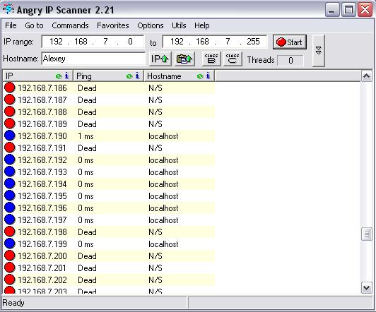 Запущенная программа Angry Ip-scanner